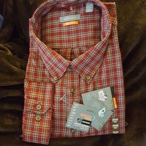 Van Heusen red plaid no iron l/s shirt NWT XXXL